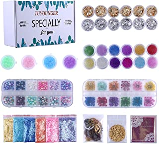 Resin Jewelry Making Supplies Kit Tuyounger Art Craft Supplies for Resin, Slime, Nail Art, DIY Craft, Including Mylar Flakes,Resin Stone, Dry Flowers,Beads,Wheel Gear etc