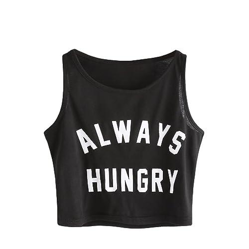 234f86b8a2c060 SweatyRocks Women s Summer Sleeveless Letter Print Casual Crop Tank Top  Shirts