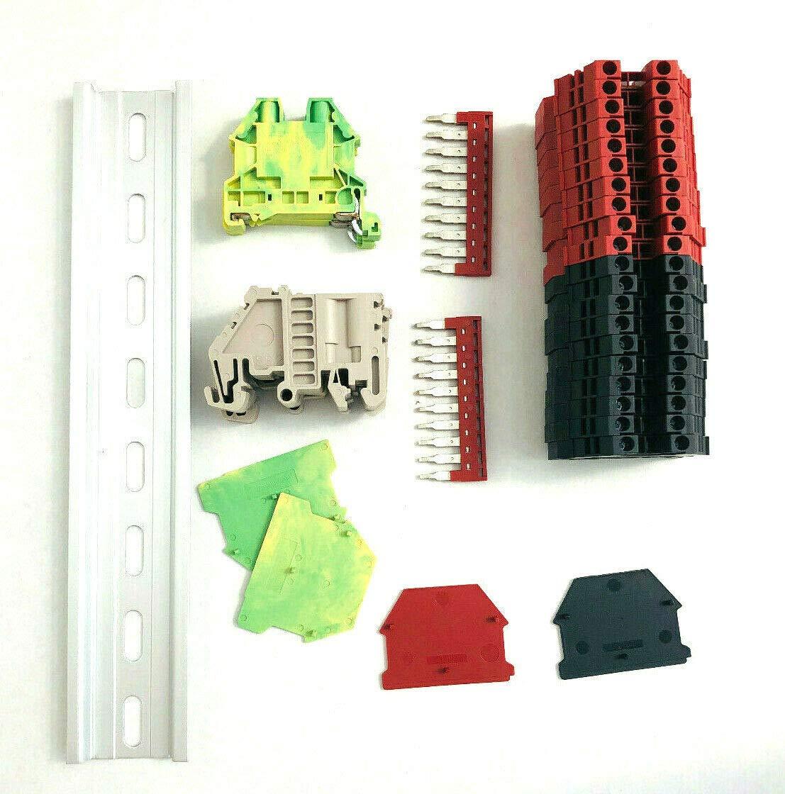 DIN Rail Terminal Block Kit Animer and price revision #2 Red Manufacturer OFFicial shop Black G 10 20 DK4N AWG Dinkle
