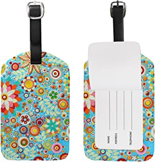 My Daily 3D Colorful Abstract Flowers Floral Printed Luggage Tag PU Leather Bag Tag Travel Suitcases ID Identifier Baggage Label