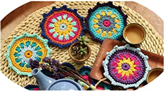 Drink Coasters,Handmade Craft Cup Mat Tea Ceremony Hand Hooked Crochet Blanket Cushion Felt Pastoral Style Gift,Green