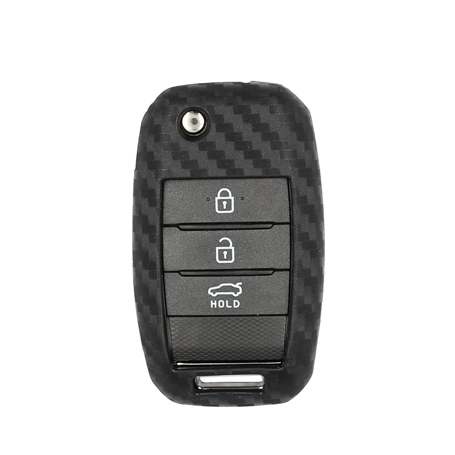 M.JVisun Soft Silicone Rubber with Carbon Fiber Texture Pattern Skin Cover Protector for KIA 2/3/4 Buttons Flip Key Fob, Car Keyless Entry Remote Key Fob Case for KIA K2 K3 K5 Sportage R - Black