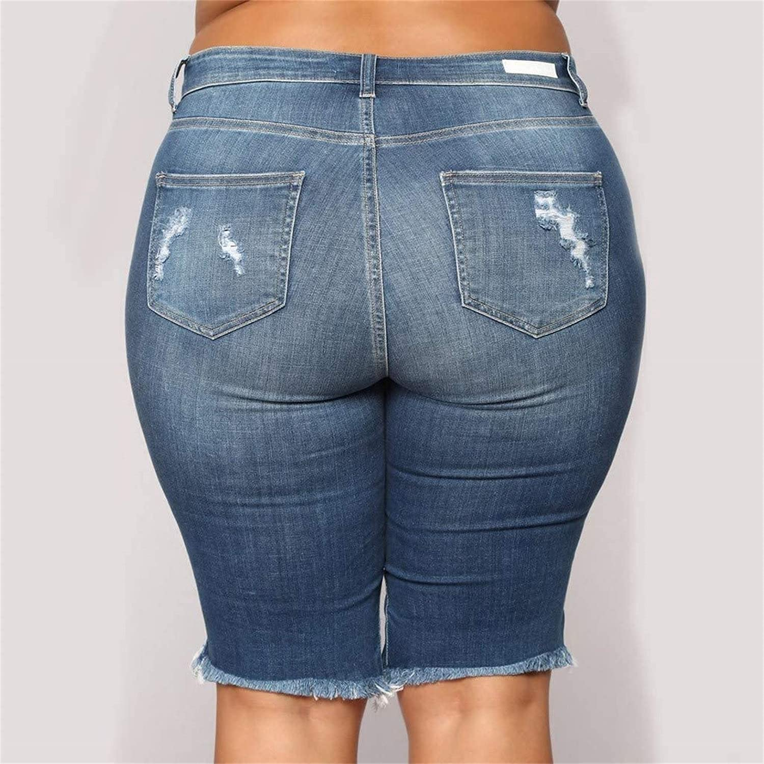 Ripped Bermuda Jean Shorts for Women Knee Length Plus Size Stretch Denim Shorts Distressed Short Jeans with Holes (Blue,Large)