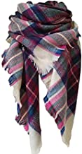 Womens Blanket Scarf Fashion Plaid Scarfs Warm Tartan Chunky Wrap Oversized Shawl Cape