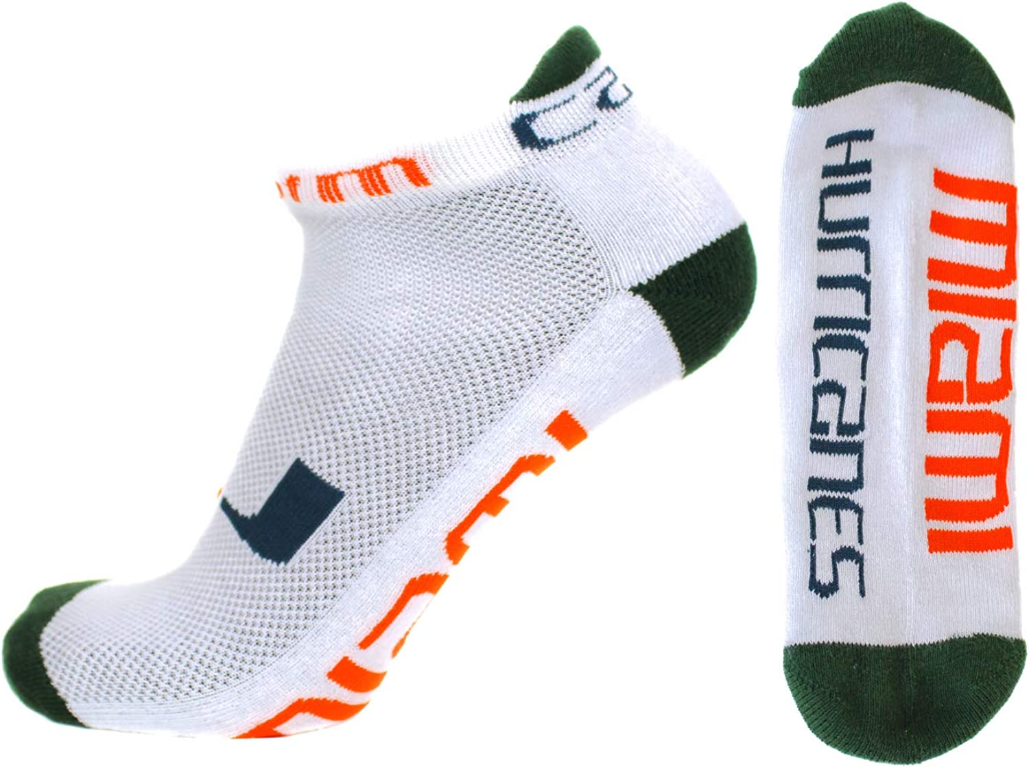 Donegal Bay NCAA At the price of surprise Miami Hurricanes 5 ☆ popular Size One Socks Footie White