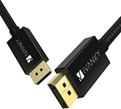 iVANKY DisplayPort 1.4 Cable 6.6 ft [4K@144Hz, 8K@60Hz] Braided High Speed DisplayPort Cable, HBR3, 32.4Gbps, HDCP 2.2, DSC 1.2, HDR, Compatible with Gaming Monitor - Black
