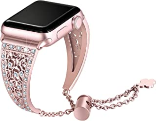 Secbolt Bling Metal Bands Compatible with Apple Watch Band 38mm 40mm iwatch Series 5/4/3/2/1, Dressy Jewelry Diamond Cuff Bracelet Bangle Wristband Women, Rose Gold