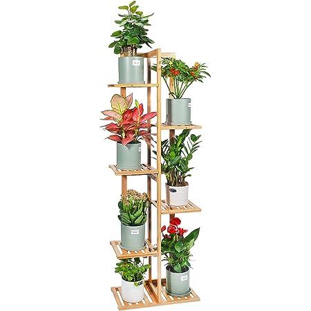 Bamboo Plant Stand Rack 6 Tier 7 Potted Indoor&Outdoor Multiple Stand Holder Shelf Rack Planter Display for Patio Garden, Living Room, Corner Balcony and Bedroom (7 Flowerpots)