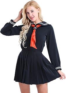 FEESHOW Womens Lingerie Set Girls Long Sleeve Sailor Schoolgirl Mini Skirt Costume
