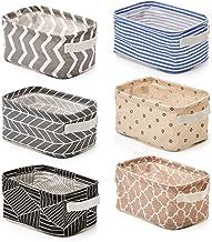 EZOWare Set of 6 Foldable Storage Bins Baskets, Collapsible Fabric Shelf Organizer Set with Handles for Bathroom Makeup Bo...
