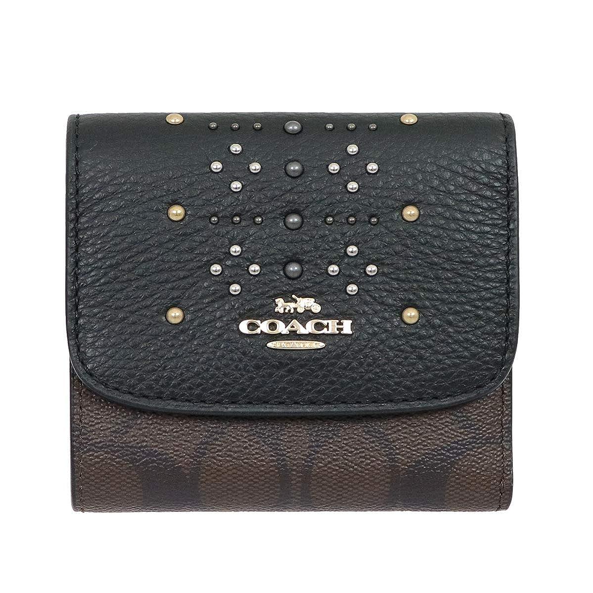 ナラーバー脳輝く[コーチ] COACH 財布 (三つ折り財布) F31969 ブラウン×ブラックマルチ IMN2R シグネチャー リベット レザー 三つ折り財布 レディース [アウトレット品] [ブランド] [並行輸入品]
