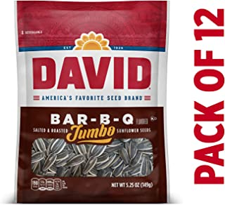 DAVID Roasted and Salted Bar-B-Q Jumbo Sunflower Seeds, 5.25 oz, 12 Pack