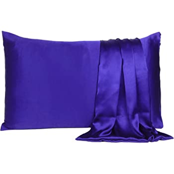 Find Here Satin 300 TC Pillow Cover Silk & Soft for Hair and Skin Standard ( 20 X 26 Inchs ) (Royal Blue)