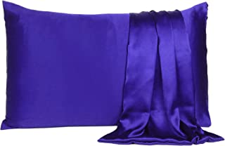 Find Here Satin 300 TC Pillow Cover Silk & Soft for Hair and Skin Standard Pack of 1 ( 20 X 26 Inchs ) (Royal Blue)