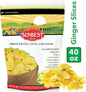 SUNBEST Dried Crystallized Ginger Slices in Resealable Bag (2.5 Lb)