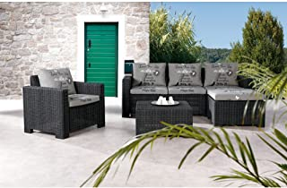 BEST 4-teilig Lounge Gruppe Kenia, graphit, 68 x 199 x 72 cm, 96116150