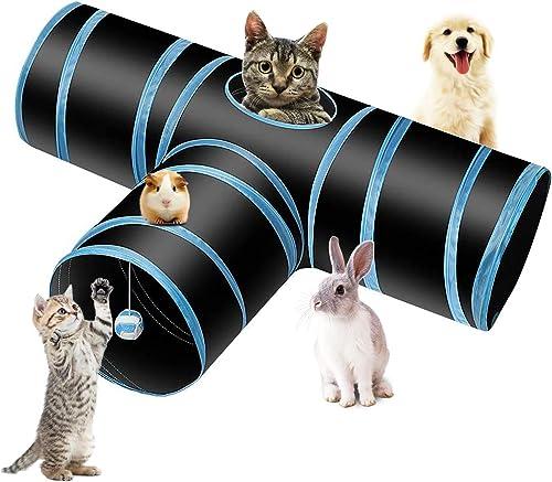 PHYLES Tunnel Per Gatti,Tunnel a 3 Vie Pieghevole,Prodotti Per Animali Domestici,Pompon e Campanelle Per Gatto,Gatti,...