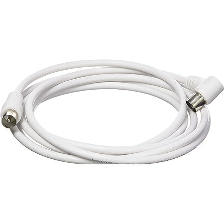 Koax Stecker m/ännlich 90/° abgewinkelt auf Koax Buchse Kupplung weiblich 90/° abgewinkelt BestPlug 2,5 Meter Antennen-Kabel 75Ohm geeignet f/ür 3D SD HD FullHD UHD 4K Weiss