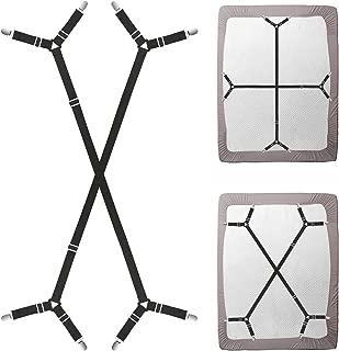 Triangle Bed Sheet Fastener Adjustable Holder Straps for a Smooth Mattress, Adjustable Mattress Pad Duvet Cover Bed Sheet Corner Holder Elastic Straps Fasteners Clips Grippers Clippers (2pcs/set,black