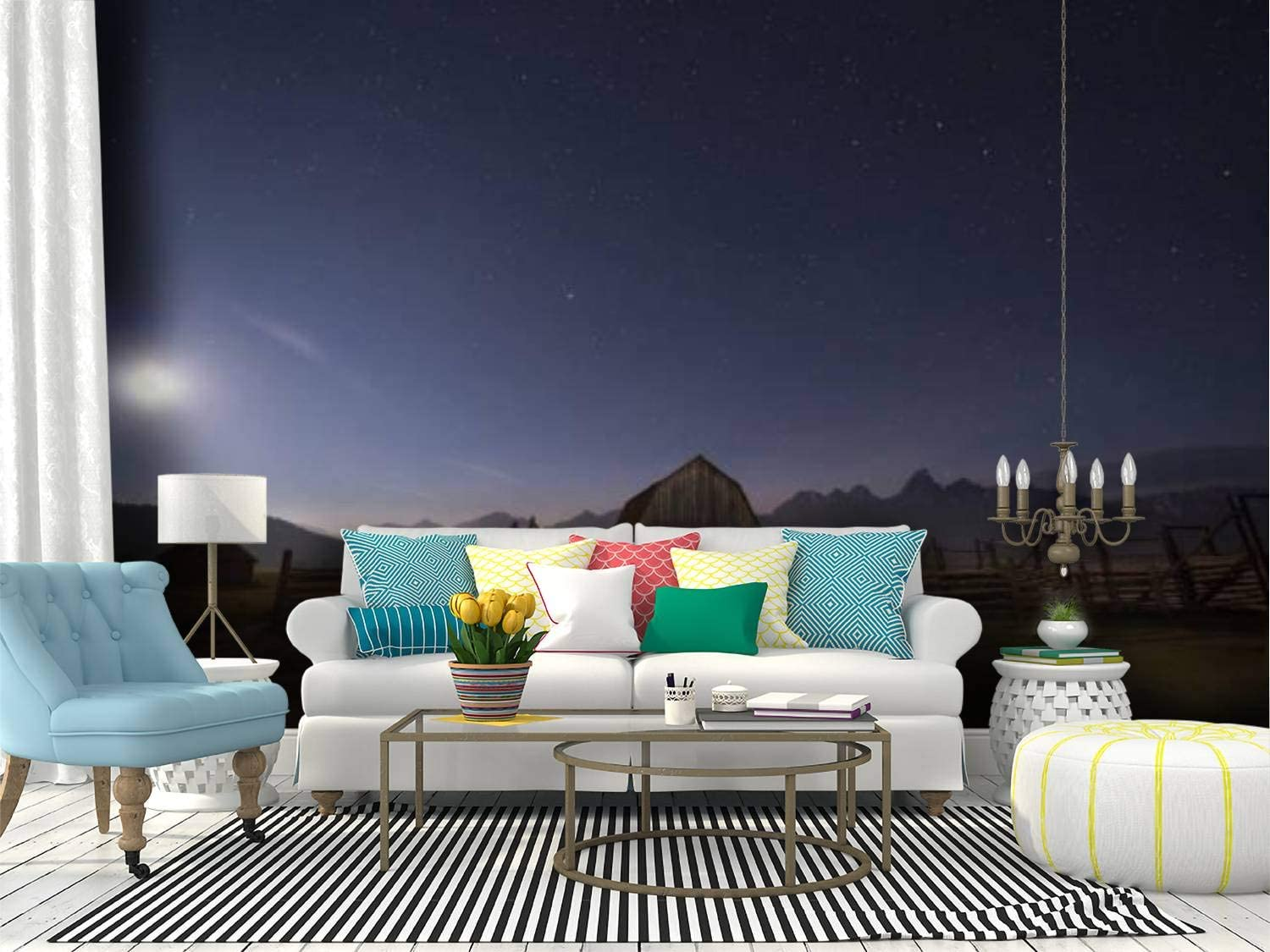 RECETHROWS Wall Mural Moon Above Mormon and Wyoming Peel Tucson Mall NEW before selling ☆ in Row
