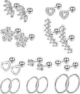 Masedy 10Pairs Stainlesss Steel Cartilage Stud Earrings for Women Girls Helix Tragus Couch Hoop Piercing Earrings Set