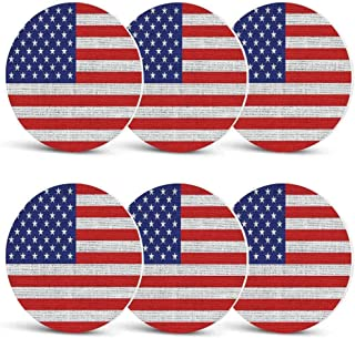 Rustic American USA Flag Drink Coasters,Fourth of July Independence Day Burlap Looking Retro Vintage Country Pastel Color for Men Women & Holiday PartySet of 6