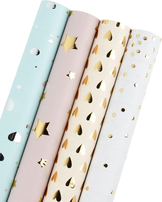 Laribbons Geschenkpapier Rolle – 150 SQ FT. – Verkauft Verkauft Verkauft 4 Gold Silber Foil - Polka Dots Stars Hearts (2 Kinds) B0791BCK2X   Verpackungsvielfalt  688c96