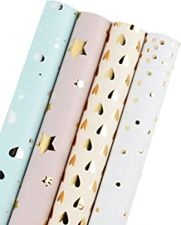 WRAPAHOLIC Gift Wrapping Paper Roll - Polka Dots/Stars/Hearts (2 Kinds) Design for Birthday, Mother Day, Valentine's Day, Wedding, Baby Shower Gift Wrap - 4 Rolls - 30 inch X 120 inch Per Roll