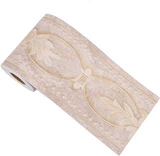 Sourcingmap - Cenefa de papel de pared en 3D, autoadhesiva, para cocina, baño, dormitorio, decoración de pared, diseño de peonía, 3.94 pulgadas por 16.4 pies marrón
