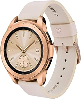 V-MORO Leather Strap Compatible with Galaxy Watch 42mm Bands/Watch3 41mm Band with Rose Gold Stainless Steel Buckle Replacement for Samsung Galaxy Watch 42mm/Watch3 41mm/Active 2 40mm 44mm Women