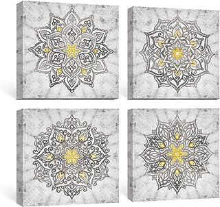 Mandala Wall Art Prints on Canvas Gold Boho Decorations for Bedroom, marrón, 30 x 30 cmx 4 Piezas