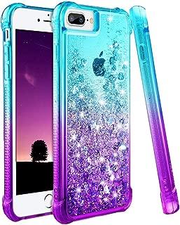 wlooo Funda para iPhone 8 Plus, Fundas iPhone 7 Plus, Glitter liquida Gradiente Silicona TPU Bumper Case Brillante Arena movediza Carcasa para iPhone 6 Plus/6s Plus/7 Plus/8 Plus (Teal Violet)