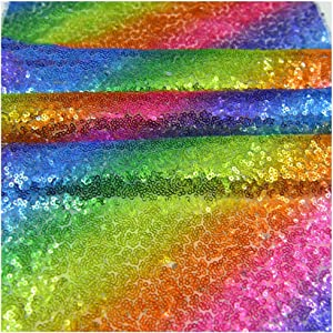 Rainbow Sequins Table Runner Rectangle Placemats Table Cover Wedding Hawaiian Summer Holiday Baby Shower Christmas Halloween Birthday Party Supplies Glitter Sequin Table Setting Decor 12 x 71 Inches