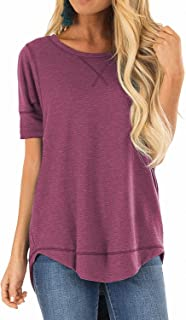 Allimy Women Summer Clothing Short Sleeve Shirts Tee Tunics for Leggings Tops Blouses Small Red