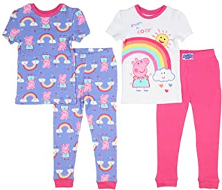 Peppa Pig Toddler Girls Pajamas Dream in Color 4pc Mix and Match Sleepwear Set