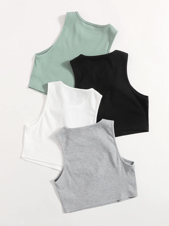 SheIn Women's 4packs Round Neck Crop Tank Top Sleeveless Rib Knit Tops at  Women's Clothing store