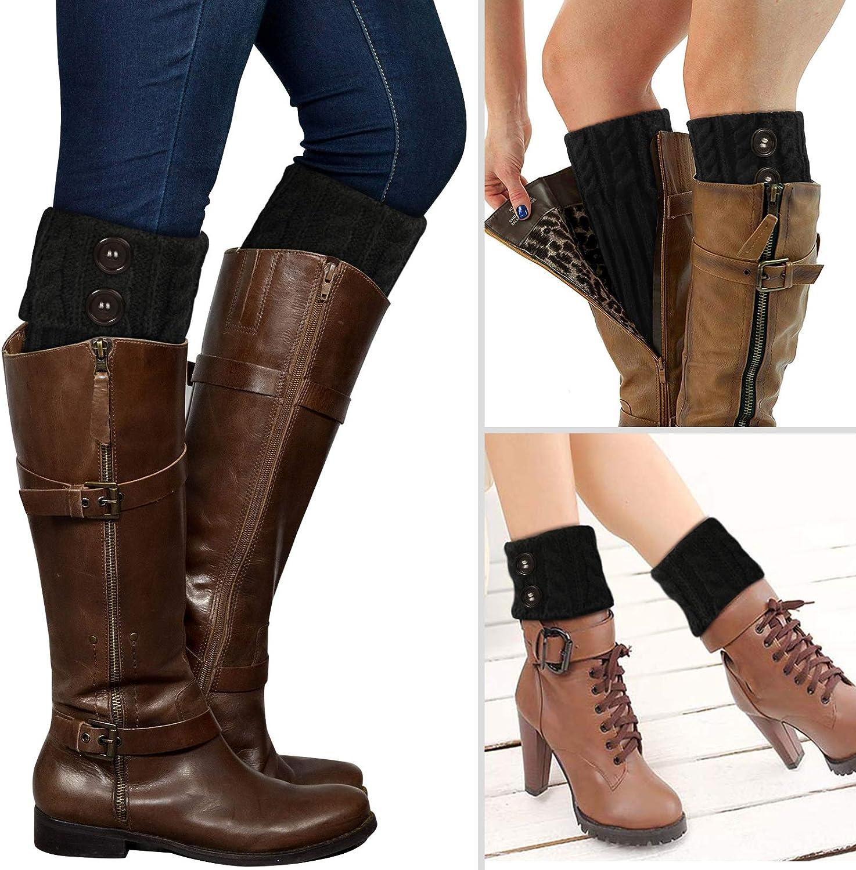 PHOGARY 2 Pairs Winter Warm Boot Cuffs for Women, Crochet Knitted Boot Socks for Girls Black Short Leg Warmers Boot Topper Socks Leg Cuffs Boot Warmers Gift