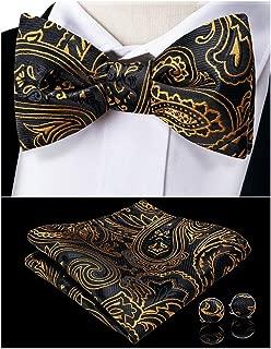 Men's Silk Bowtie and Pocket Square Self Tie Bow Necktie Cufflink Set Formal Classic
