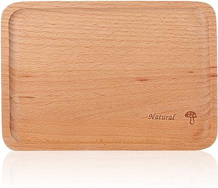 Preisvergleich für Yosoo Natürliches Fach Rechteck Buchenholz Platte Kinder für Essen Obst Dessert Holz Rechteck Serviertablett Natürliche Buchenholz Servierteller Platten (Pilz)