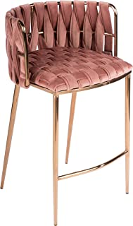 Statements by J 1538CS-ROSE Milano Counter Chair, Rose, 35 Inch Tall, Gold