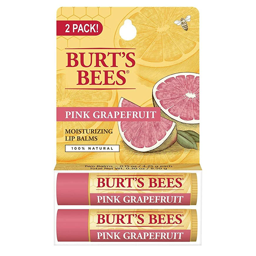 放棄された無駄な効果[海外直送品] バーツビーズ(Burt's Bees) さわやかな ピンクグレープフルーツ リップバーム 2PACK [並行輸入品]