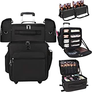 MONSTINA Rolling Makeup Artist Case,Professional Trolley Cosmetic Train Case with Detachable Makeup Organizer Bag and Adju...