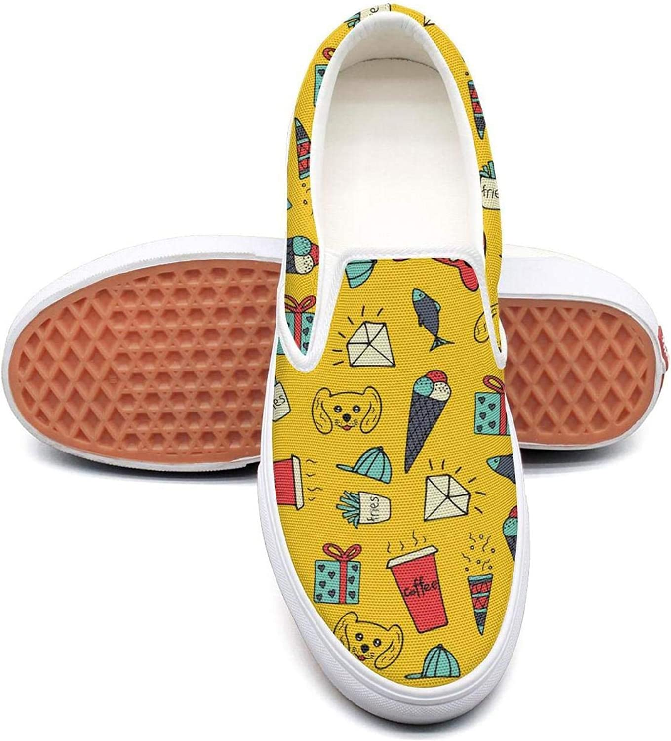 Sernfinjdr Women's Yellow Cute Cartoon Diamond Casual Canvas Slip on shoes Original Cycling Sneakers