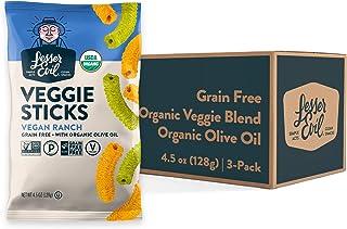 LesserEvil Vegan Ranch Veggie Sticks, Grain Free, Pack of 3, 4.5 oz Bags