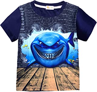 Toddler Boys Shirt Dinosaur Short Sleeve 3D T-Shirt Summer Kids Animal Graphic Cotton Tops Tees