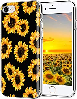 LYWHL iPhone 7 case, iPhone 8 case, AIKIN Simply Designed Flower Pattern Case Soft TPU Flexible Case Shockproof Protective Cute Case for iPhone 7,iPhone 8 (Sunflower/Black)