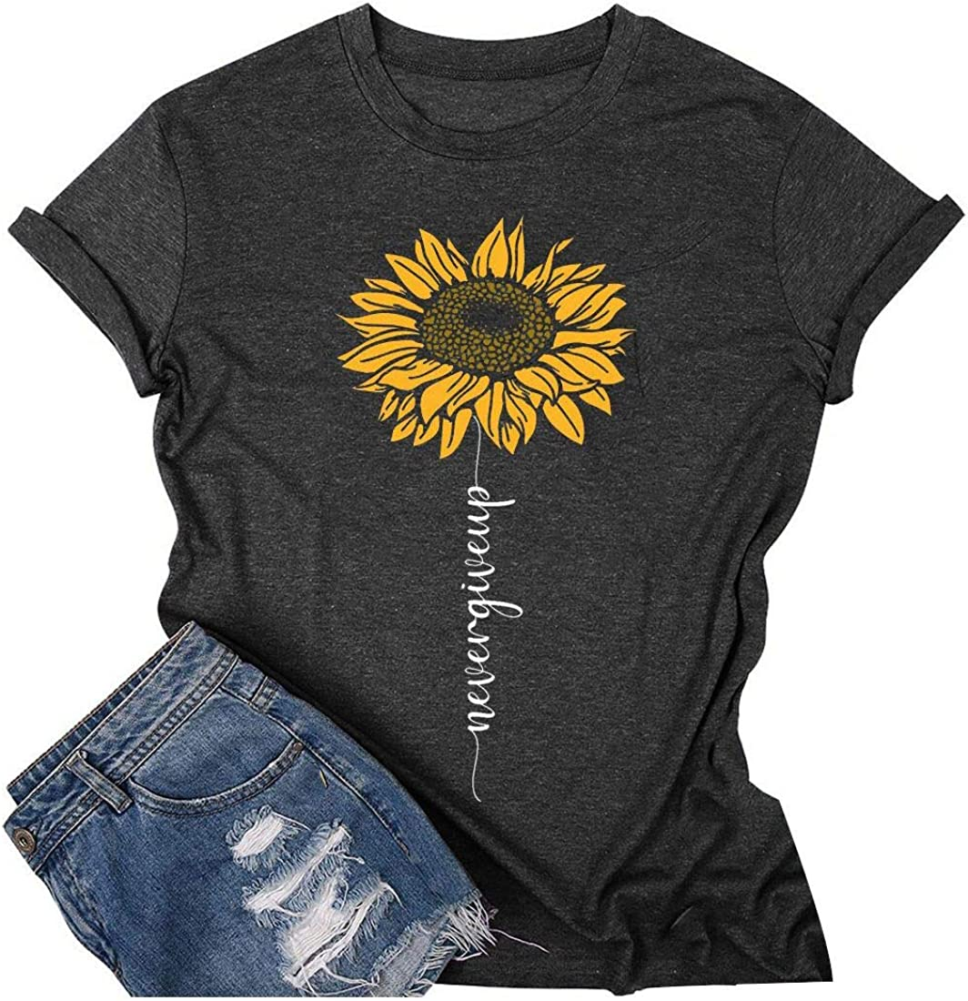 Peace Love Sunshine Tshirt Women Funny Graphic Sunflower Garden Tee Short Sleeve Floral Shirt