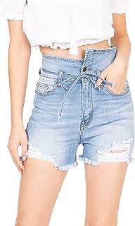 Machine Jeans Women's Juniors High Waist Frayed Hem Denim Shorts