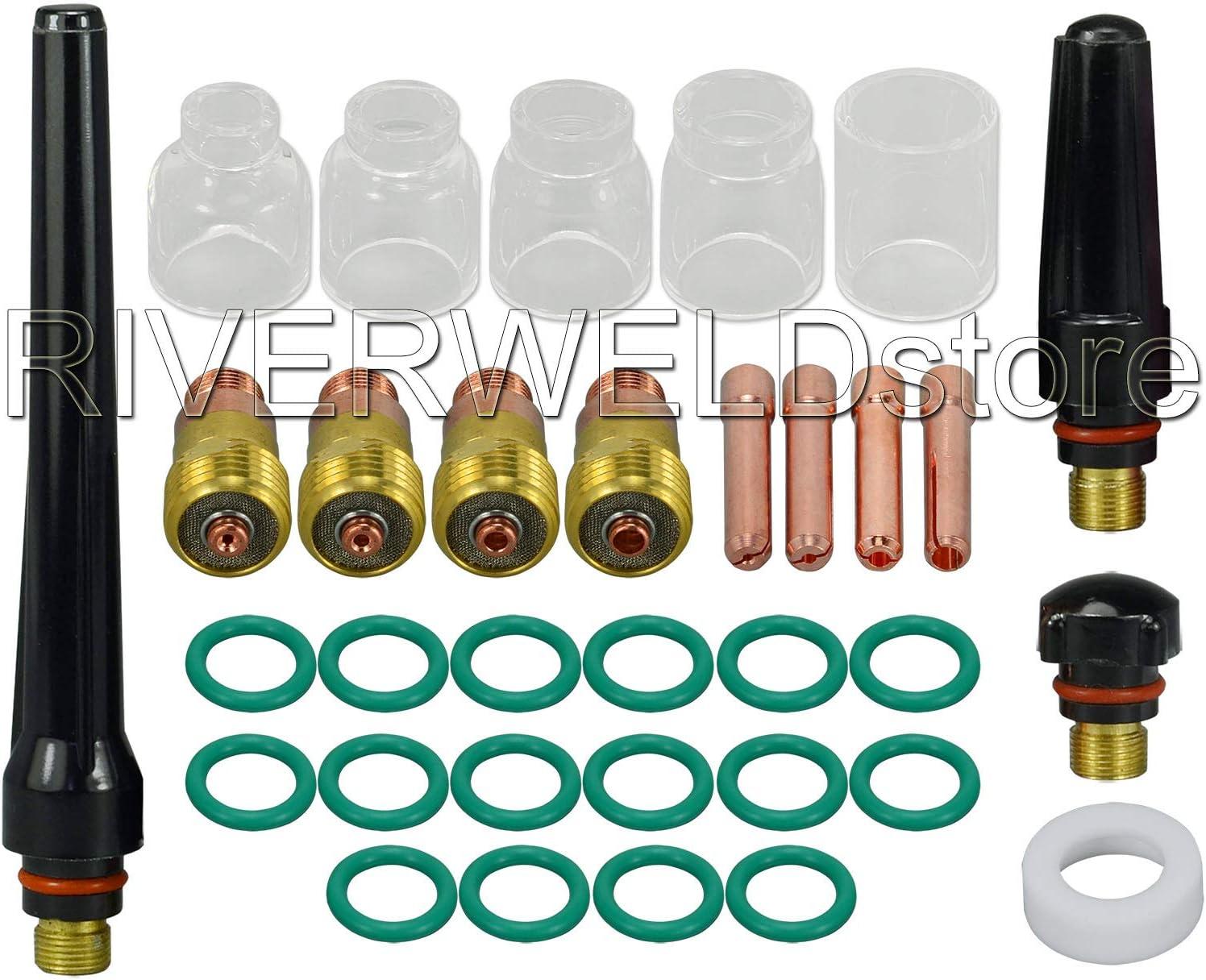 TIG kit rechoncho lente de gas collet cuerpo copa pyrex Para DB SR WP 17 18 26 Antorcha Soldadura Tig Accesorios 33pcs