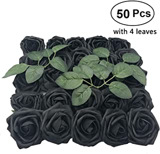 Artificial Flowers Rose, 50pcs Real Looking Artificial Roses w/Stem for Bridal Wedding Bouquets Centerpieces Baby Shower DIY Party Home Decor, Black with 4 Leaves